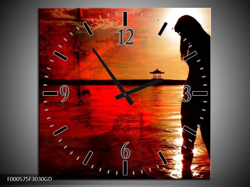 Wandklok op Glas Vrouw | Kleur: Rood, Zwart, Wit | F000575CGD