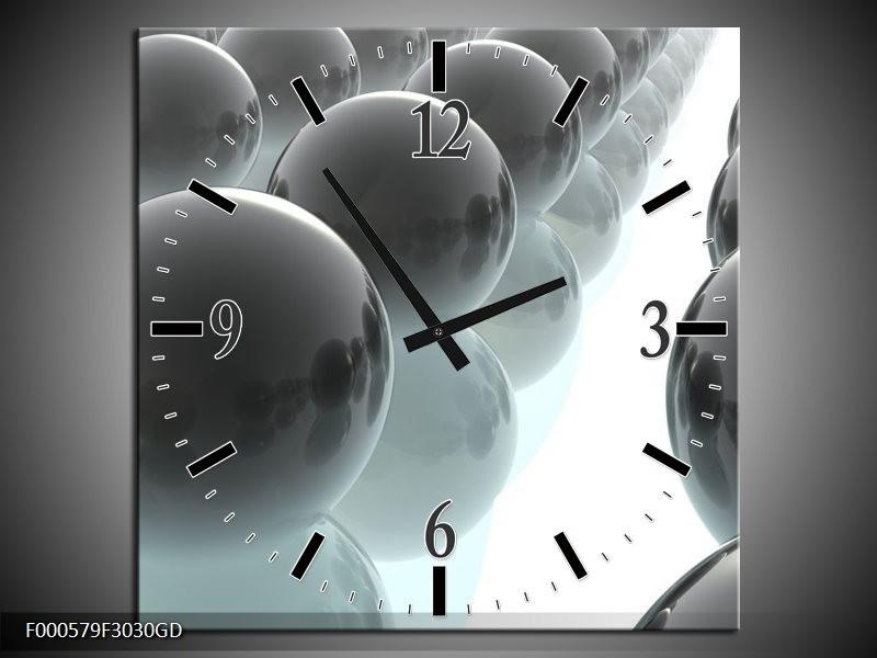 Wandklok op Glas Bal | Kleur: Grijs, Zilver, Wit | F000579CGD