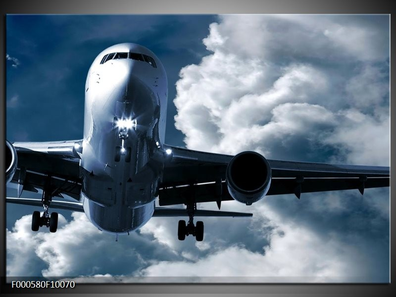 Glas schilderij Vliegtuig   Blauw, Grijs, Wit