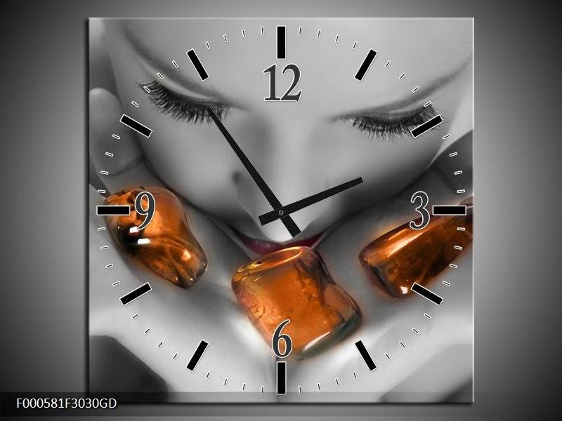 Wandklok op Glas Stenen | Kleur: Oranje, Grijs, Wit | F000581CGD