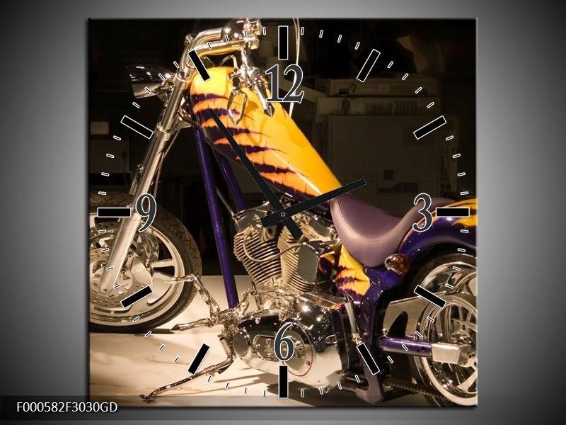 Wandklok op Glas Motor | Kleur: Geel, Paars, Zwart | F000582CGD