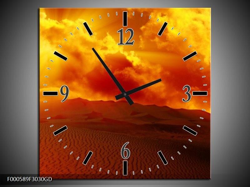 Wandklok op Glas Zonsondergang | Kleur: Oranje, Rood, Geel | F000589CGD