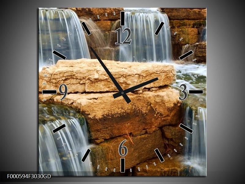 Wandklok op Glas Waterval | Kleur: Grijs, Bruin, Wit | F000594CGD