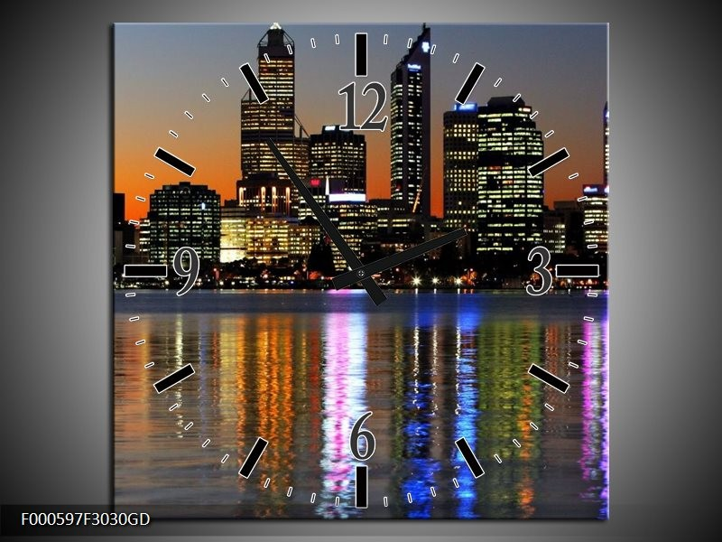 Wandklok op Glas Steden | Kleur: Oranje, Blauw, Grijs | F000597CGD