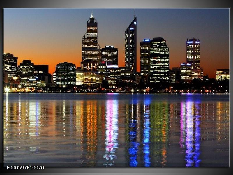 Glas schilderij Steden | Oranje, Blauw, Grijs