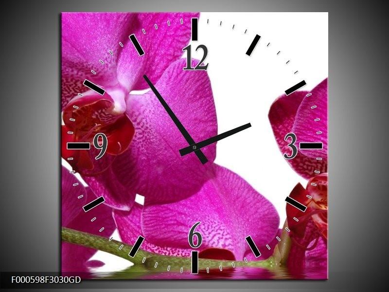Wandklok op Glas Orchidee | Kleur: Paars, Wit, Groen | F000598CGD