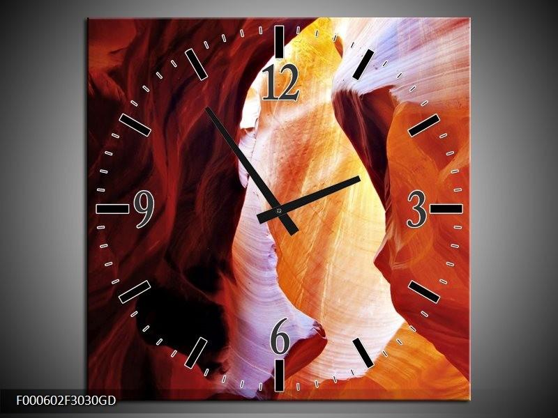 Wandklok op Glas Zand | Kleur: Rood, Oranje, Zwart | F000602CGD