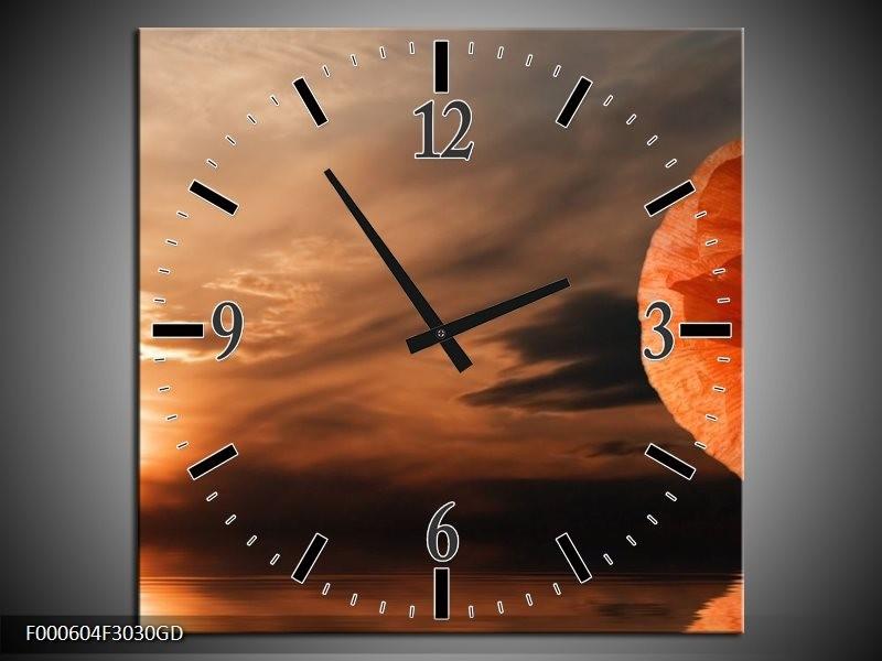 Wandklok op Glas Zonsondergang | Kleur: Geel, Wit, Oranje | F000604CGD