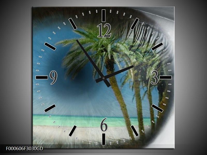 Wandklok op Glas Strand | Kleur: Groen, Grijs, Blauw | F000606CGD