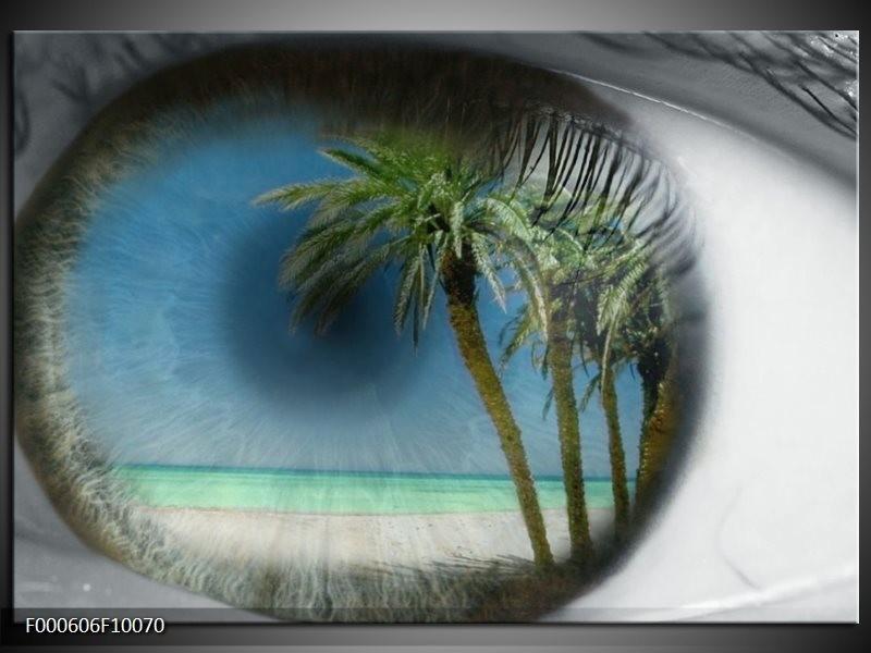 Glas schilderij Strand   Groen, Grijs, Blauw