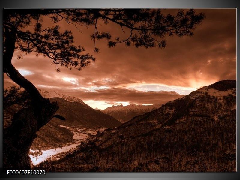 Glas schilderij Bergen | Zwart, Bruin, Wit