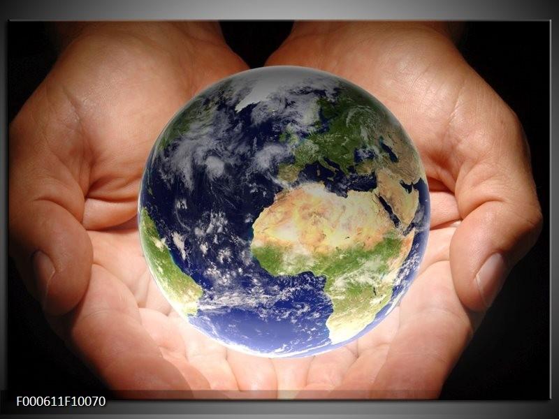 Glas schilderij Wereld | Blauw, Groen, Geel