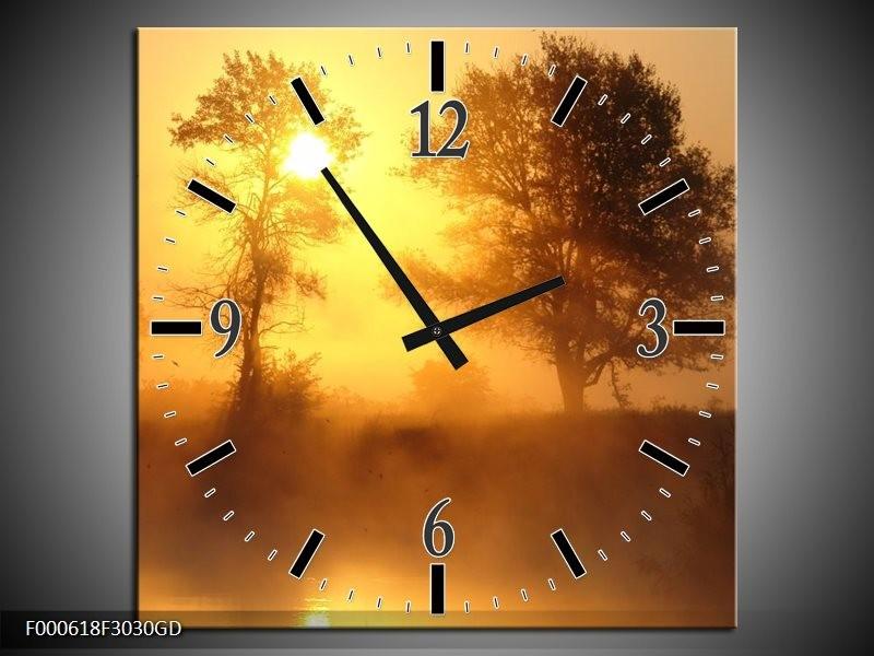 Wandklok op Glas Zonsondergang | Kleur: Geel, Bruin, Grijs | F000618CGD