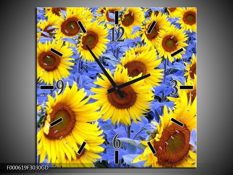 Wandklok op Glas Zonnebloem | Kleur: Geel, Blauw, Bruin | F000619CGD