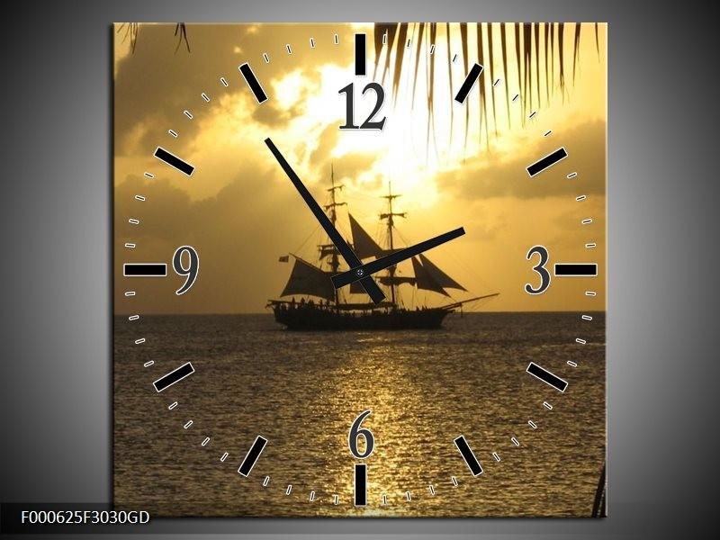 Wandklok op Glas Zeilboot | Kleur: Geel, Grijs, Zwart | F000625CGD