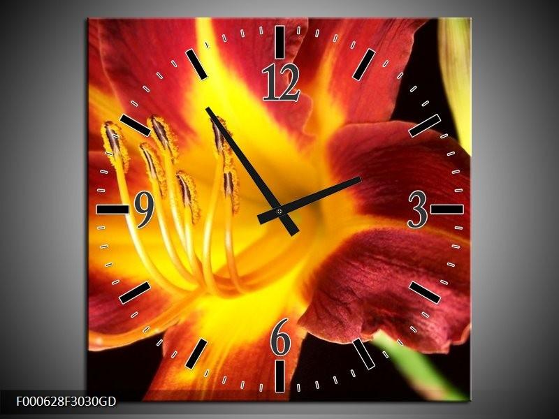 Wandklok op Glas Bloem | Kleur: Rood, Geel, Zwart | F000628CGD