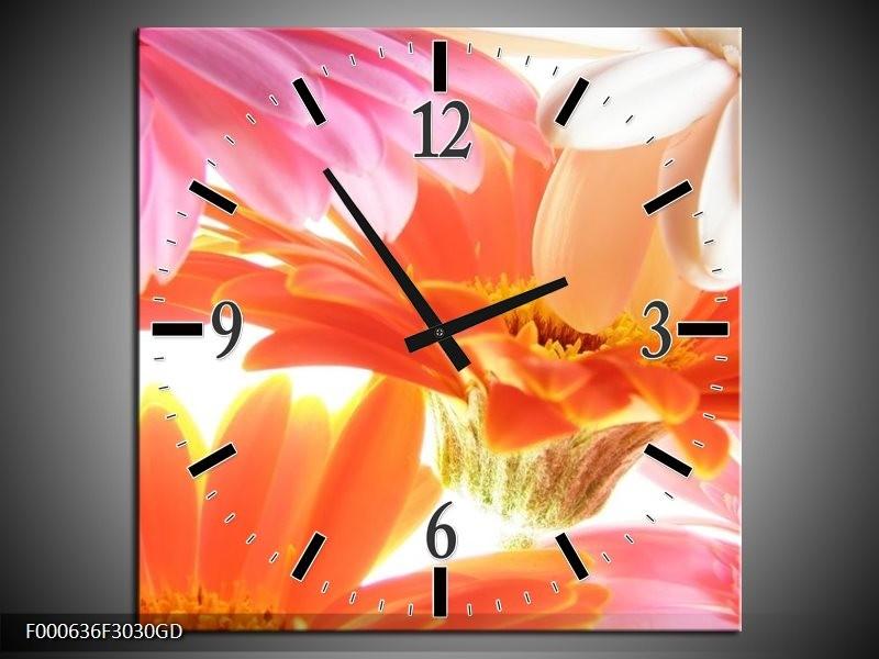 Wandklok op Glas Bloem | Kleur: Oranje, Wit, Geel | F000636CGD
