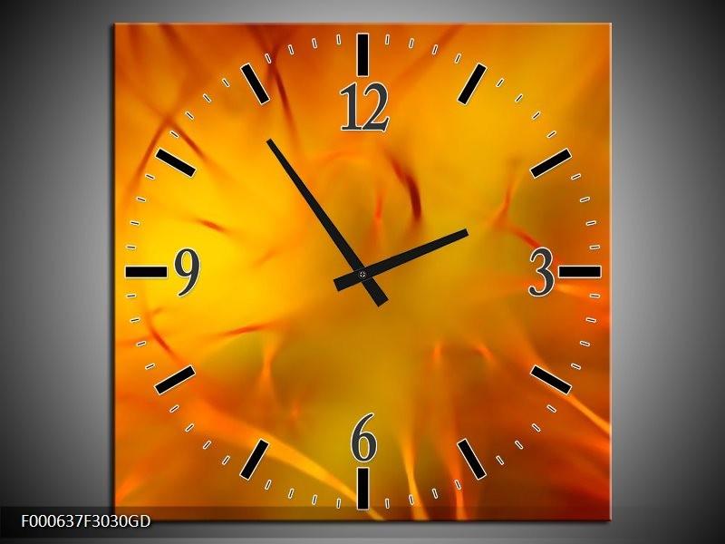 Wandklok op Glas Abstract | Kleur: Oranje, Geel, | F000637CGD
