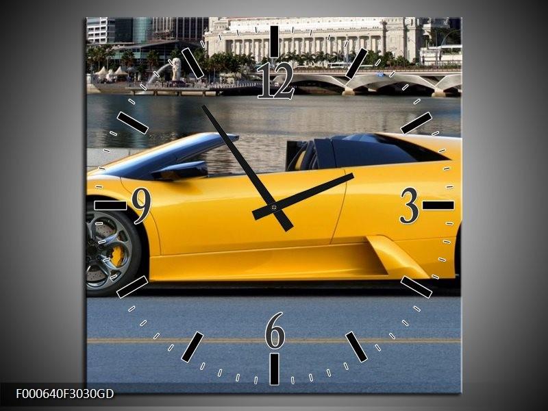 Wandklok op Glas Auto | Kleur: Geel, Blauw, | F000640CGD