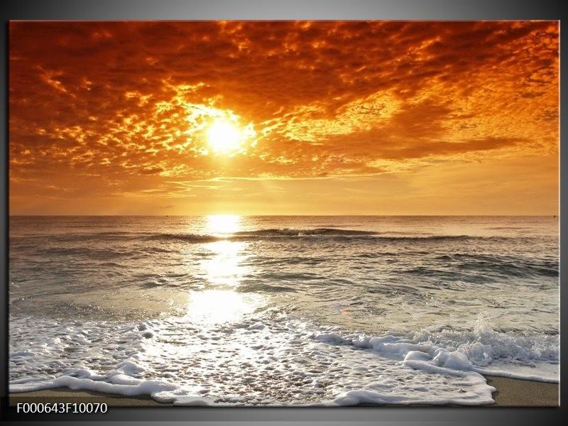 Glas schilderij Zonsondergang   Geel, Oranje, Grijs