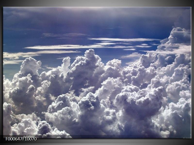 Glas schilderij Wolken | Wit, Blauw