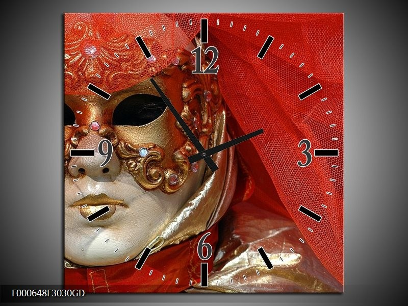 Wandklok op Glas Masker | Kleur: Rood, Goud, Zwart | F000648CGD
