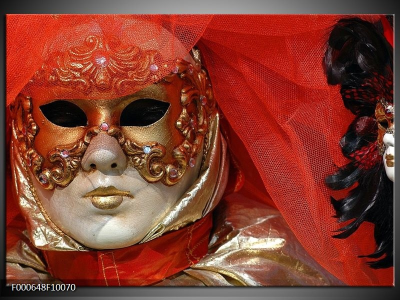 Glas schilderij Masker | Rood, Goud, Zwart