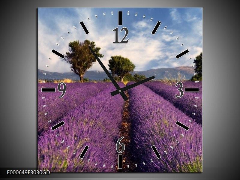 Wandklok op Glas Lavendel | Kleur: Paars, Blauw, Wit | F000649CGD
