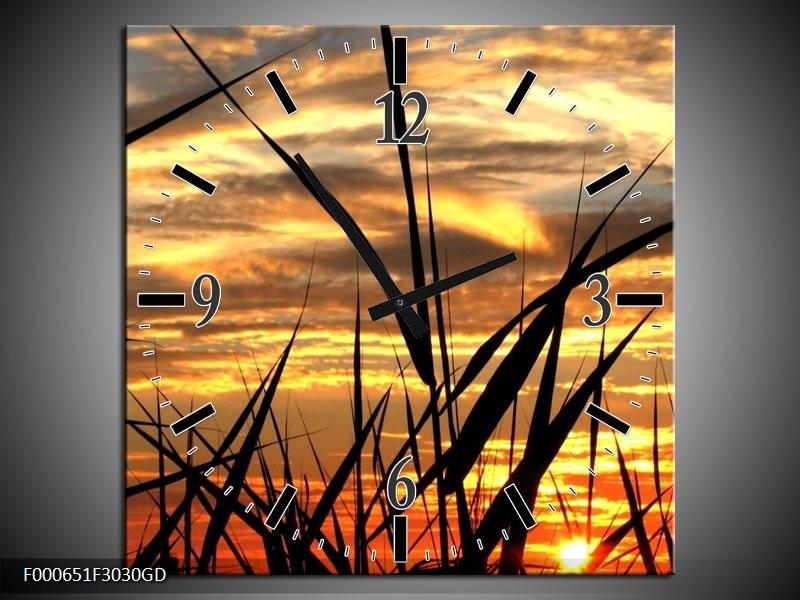 Wandklok op Glas Zonsondergang   Kleur: Zwart, Grijs, Geel   F000651CGD