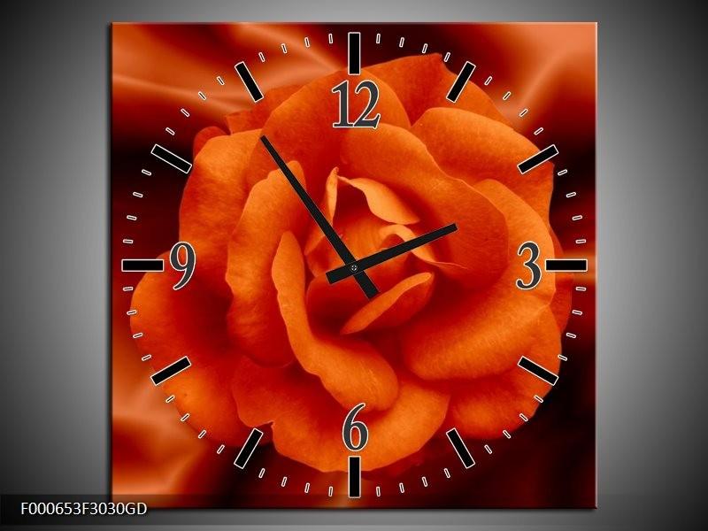 Wandklok op Glas Bloem | Kleur: Rood, Zwart, Oranje | F000653CGD