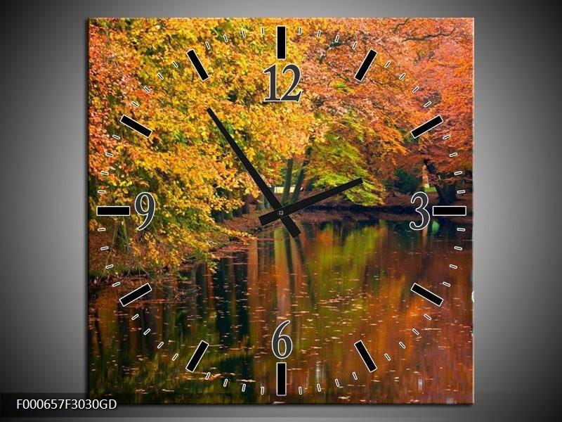 Wandklok op Glas Herfst | Kleur: Geel, Oranje, Groen | F000657CGD