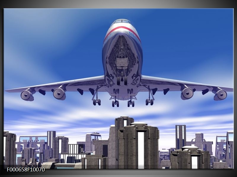 Glas schilderij Vliegtuig | Blauw, Wit, Grijs