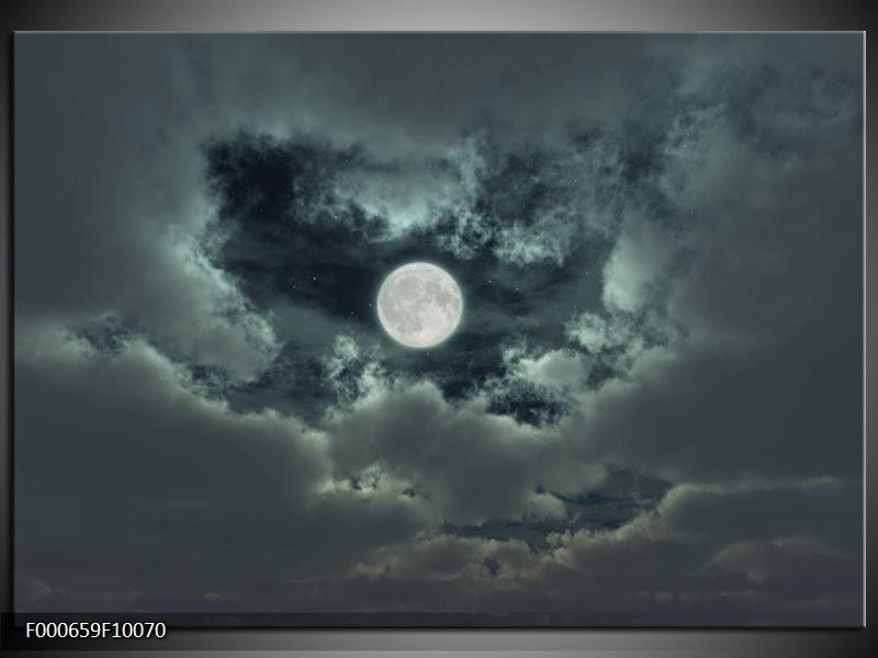 Glas schilderij Maan | Grijs, Wit