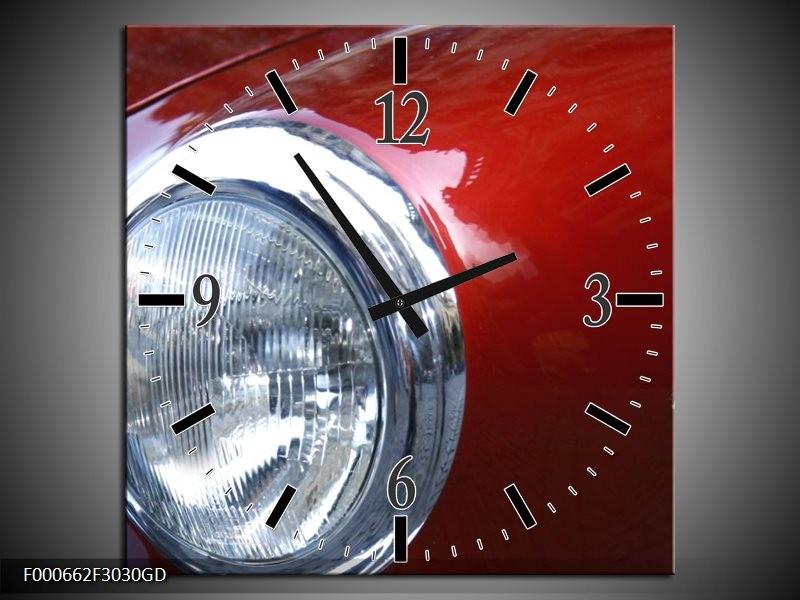 Wandklok op Glas Lamp | Kleur: Rood, Zilver, Wit | F000662CGD