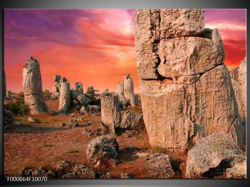 Glas schilderij Stenen | Bruin, Paars, Geel