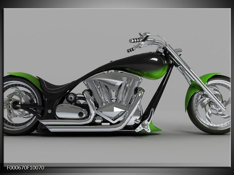 Glas schilderij Motor | Groen, Grijs, Zwart