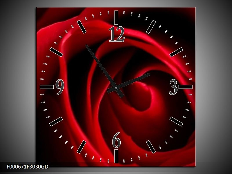 Wandklok op Glas Roos | Kleur: Rood, Zwart | F000671CGD