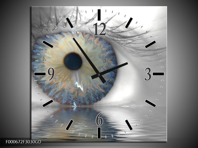 Wandklok op Glas Ogen | Kleur: Grijs, Wit, Blauw | F000672CGD