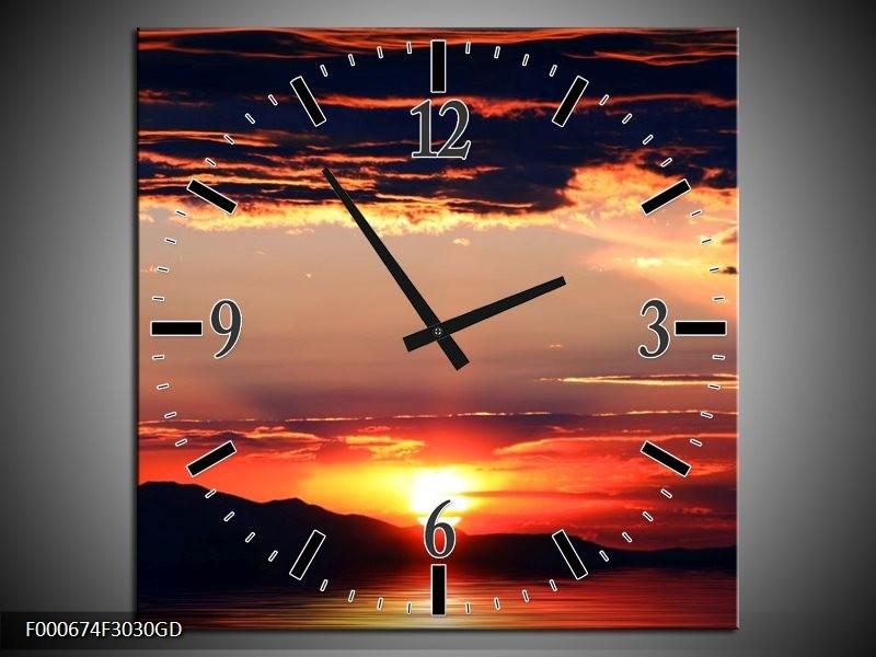 Wandklok op Glas Zonsondergang | Kleur: Oranje, Zwart, Geel | F000674CGD