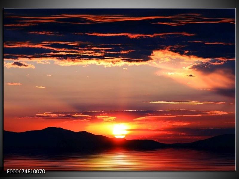 Glas schilderij Zonsondergang   Oranje, Zwart, Geel
