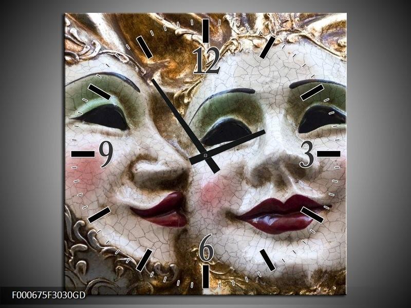 Wandklok op Glas Masker | Kleur: Wit, Goud, Zwart | F000675CGD