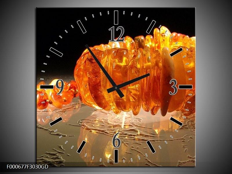 Wandklok op Glas Macro | Kleur: Oranje, Geel, Zwart | F000677CGD
