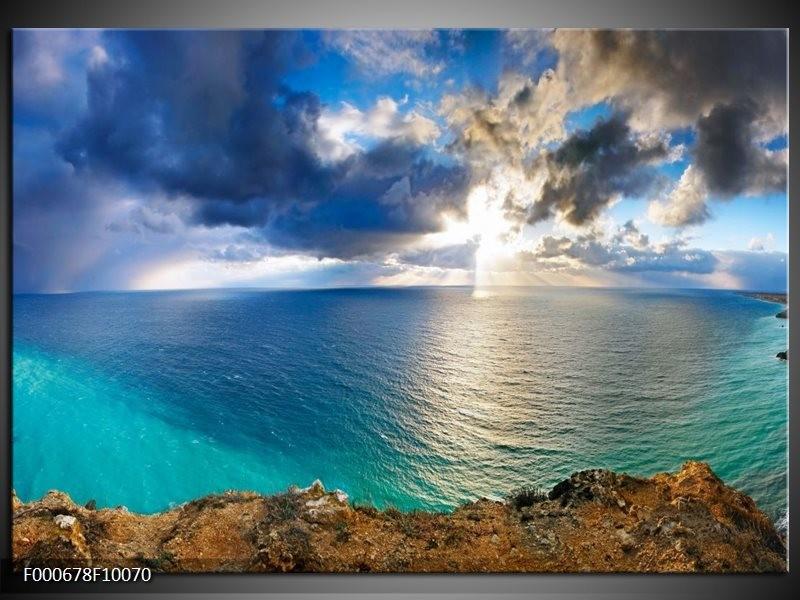 Glas schilderij Zee | Blauw, Wit, Grijs