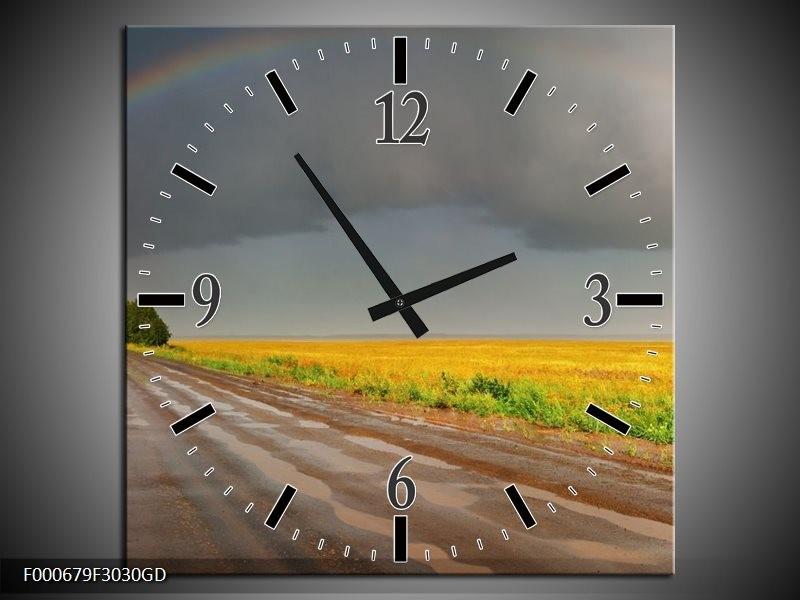 Wandklok op Glas Regenboog | Kleur: Geel, Grijs, Groen | F000679CGD