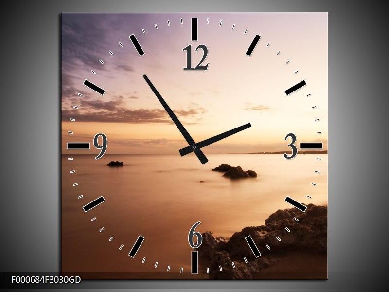 Wandklok op Glas Zee | Kleur: Geel, Bruin, Zwart | F000684CGD