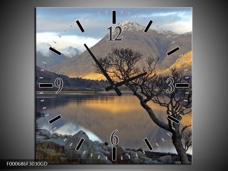 Wandklok op Glas Bergen | Kleur: Grijs, Zwart, Wit | F000686CGD