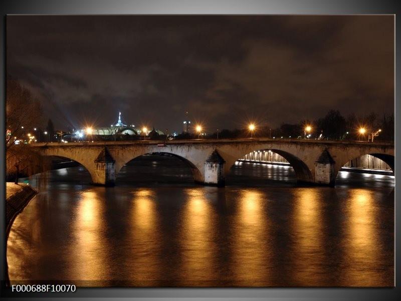 Glas schilderij Bruggen | Geel, Bruin, Zwart