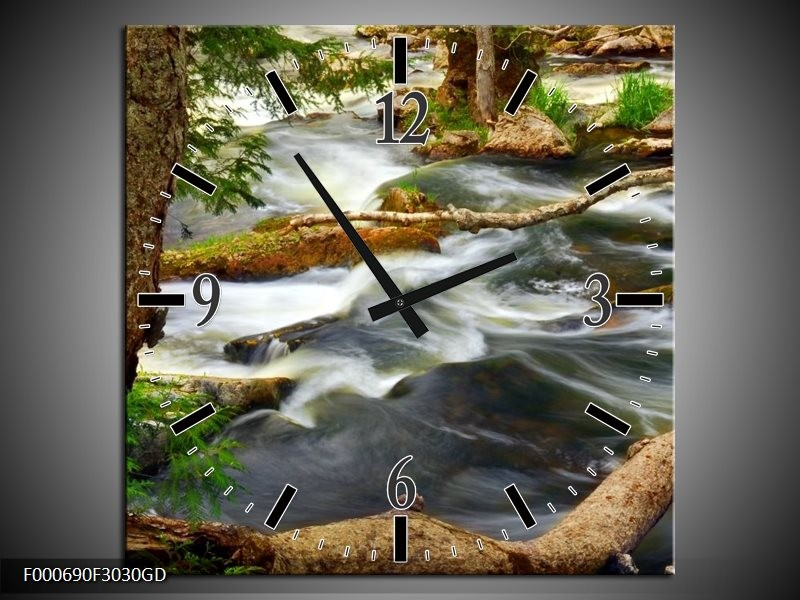 Wandklok op Glas Natuur | Kleur: Grijs, Bruin, Groen | F000690CGD