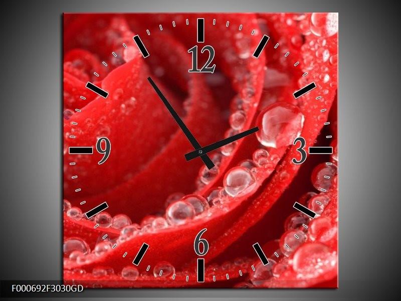 Wandklok op Glas Roos | Kleur: Rood, Wit | F000692CGD