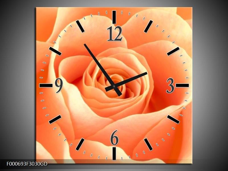 Wandklok op Glas Roos | Kleur: Oranje, Creme, Wit | F000693CGD
